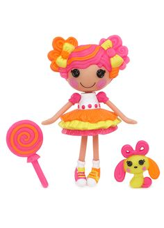 Mini Lalaloopsy™ Sweetie Candy Ribbon™ was made from a piece of taffy. She has a real sweet tooth, and her favorite candy is fruit flavored taffy. She loves to stretch it long and thin so all her friends can have a piece.