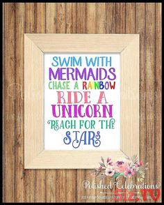 Swim With Mermaids Chase A Rainbow Ride A Unicorn Reach For The Stars / Girl Bedroom Print / Nursery Decor / Birthday Sign / Wall Art by PolishedCelebrations on Etsy Teenage Girl Bedroom Designs, Girls Room Design, Teenage Girl Bedrooms, Preteen Bedroom, Girls Bedroom, Baby Bedroom, Trendy Bedroom, Rainbow Bedroom, Rainbow Nursery