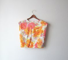 1960s Watercolor Floral Cropped Blouse Size Small