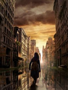 Post Apocalyptic City in Stunning Post Apocalypse Artworks i like this because i like how the person is walking Apocalypse World, Apocalypse Art, Apocalypse Landscape, Apocalypse Tattoo, Apocalypse Aesthetic, Science Fiction, Post Apocalyptic City, Dystopian Future, Dystopian Art