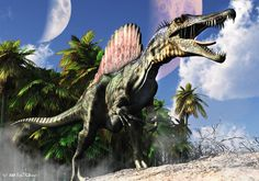 Spinosaurus...lived in what is now North Africa, from the lower Albian to lower Cenomanian stages of the Cretaceous period, about 112 to 97 million years ago. Spinosaurus may be the largest of all known carnivorous dinosaurs, even larger than Tyrannosaurus and Giganotosaurus. Estimates published in 2005 and 2007 suggest that it was 41 to 59 ft in length and 7.7 to 23.0 short tons in weight.