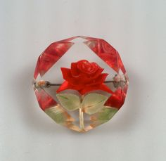 Reverse Carved LUCITE Rose Pin Beveled Edges by thepopularjewelry, $18.00