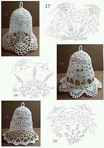 More Christmas bells crochet pattern Crochet Snowflake Pattern, Christmas Crochet Patterns, Crochet Motifs, Holiday Crochet, Crochet Snowflakes, Crochet Chart, Thread Crochet, Crochet Christmas Decorations, Crochet Decoration
