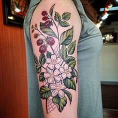 Raspberries for Mandy. Thank you so much for making the drive! Looking forward to continuing on your sleeve! #flyingironstattoomachines #blaqueowltattoo #isitsummeryet #raspberry