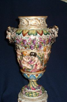 Museum Quality Capodimonte Bolted Porcelain Urn With Mythological Figures