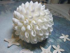 Shell Ball - 5 inch White Shell Ball - Weddings - Ornaments. $22.50, via Etsy.