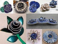 joyas de flores azules con cápsulas de café