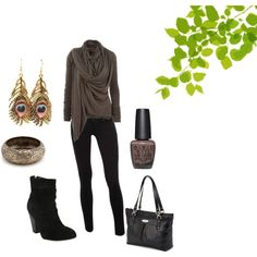Perfect outfit for a therapist's photos. Black and Brown, created by kayts on Polyvore
