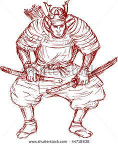 vector illustration of a samurai warrior with sword in fighting stance #samuraiwarrior #sketch #illustration