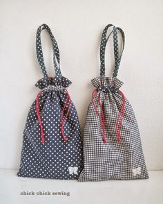 chick chick sewing: Shoes bags for our girls 娘達にハンドメイドの靴袋。