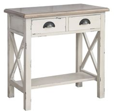 The distressed white fiinishing on this accent piece brings plenty of character into any space. Antique hardware on fully functional drawers and shelves provide storage space that is far from boring. The beautiful weathered oak finished table top adds a neutral aspect that allows for a seamless fit
