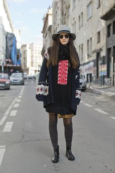 Street Fashion Bucharest.Street Style Bucharest. Romanian Tradition Street Style.