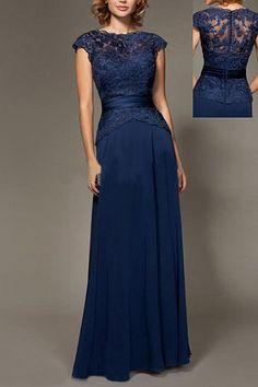 Latest Appliqued Scoop Neck A-line/Princess Short Sleeve Prom Dresses