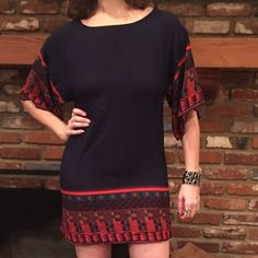 """LEITH NAvY blue print tuNiC mini DRESS S boho Lovely navy blue and fire orange BOho tunic / mini dress. 32"""" long, 17.5"""" pit to pit, 21.5"""" at the hip. Rayon. Nice drape. Wear with knee boots or leggings Leith Dresses Mini"""