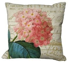 Romantic Hydrangea on French invoice Pillow Cover by Soeuralasoeur, Custom Printed Fabric, Printing On Fabric, Canvas Fabric, Fabric Painting, Cotton Canvas, Bed Rug, Fabric Envelope, French Country Style, Pillow Forms