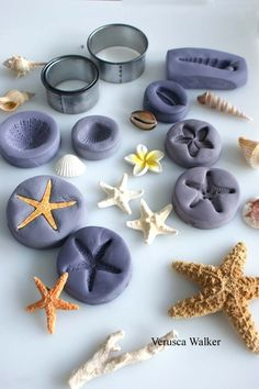 Shells Mould by Verusca Walker  Make shells using real shells + leftover fondant + tylose