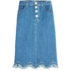 See by Chloé Denim Skirt (3.646.500 IDR) ❤ liked on Polyvore featuring skirts, blue, knee length denim skirt, blue skirts, textured skirt, see by chloe skirt and see by chloé