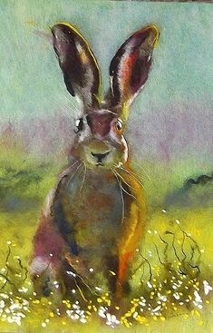 art works made from sheeps wool ,with raw fleece from my own flock of sheep,striking portraits of pop and fim icons . Bunny Painting, Painting & Drawing, Watercolor Animals, Watercolor Art, Hare Pictures, Hare Illustration, Rabbit Art, Bunny Art, Animal Paintings