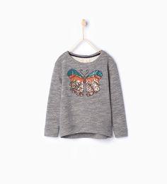 Image 1 of Butterfly flecked sweatshirt from Zara