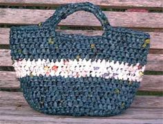 "Tote bag made from repurposed plastic bags from Marlo's Crochet Corner (includes instructions on how to make ""yarn"" from bags, too)"