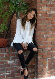 """justthedesign: """" Espadrilles are absolutely a summer wardobe must-have! Julie Sarinana wears this simplistic black and white pair with simple distressed black jeans and a white neck tie blouse for a cute and summery spring style. Top/Jeans: Design..."""