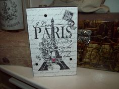 Eiffel Tower block shelf sitter sign Paris decor,shabby chic,Paris bedroom decor,French bedroom,Paris apartment