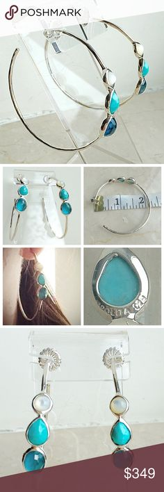 """Ippolita Sterling Silver Wonderland Hoops Gorgeous IPPOLITA 925 Sterling Silver 3-Stone Hoop Earrings """"Paradise.""""  Worn once but I prefer a different color scheme so I never wear them!  They are wasting away in my closet.  Selling at a fantastic discount!   NO TRADES  Free DELUXE Beauty Sample With Purchase Ippolita Jewelry Earrings"""