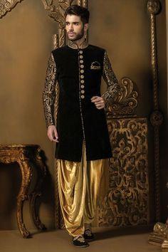 Buy Black & gold velvet alluring sherwani with mandarin collar & full sleeves Online Sherwani Groom, Mens Sherwani, Wedding Sherwani, Punjabi Wedding, Groom Wedding Dress, Wedding Suits, Wedding Couples, Wedding Ideas, Indian Groom Dress