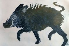 Shetland Grice - a domesticated  pig, which is now extinct.  Collagraph