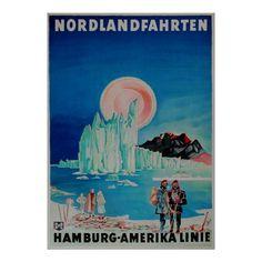 Hamburg Amerika Linie ~ Norway ~ Vintage Travel Poster