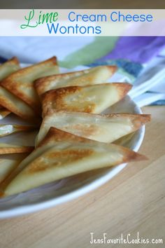 Sweet Lime Cream Cheese Wontons: these could not be easier! mix cream cheese w sugar & lime zest, put a spoonful on a wonton, fold in half, spray or brush w oil & bake. Perfect bites for snacking during the Super Bowl.