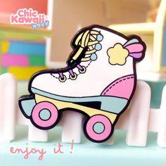 Enamel Pin Roller Skates Kawaii Colors 90s Lovely And Cute Design