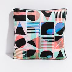 These 'Bauhaus Hustle' handmade throw pillow covers are lovingly created by Vancouver textile artisan Stephanie Symns and available at Oden Gallery Throw Pillow Covers, Throw Pillows, Creative Decor, Pillow Design, Colorful Decor, Fabric Patterns, Geometric Shapes, Furniture Decor, Decorative Pillows