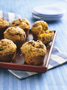 Brighten breakfast with these pumpkin muffins filled with dried cranberries (you can also use dried cherries) and chopped pecans. Ginger and cinnamon add delicious warmth and depth!
