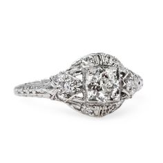 Classic Art Deco and Platinum Engagement Ring | Baron's Court from Trumpet