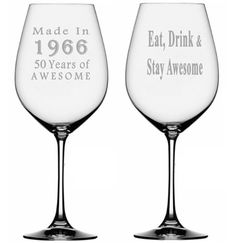 50th Birthday Etched Wine Glass Made In 1966  50 by TipsyGifts