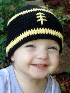 Crocheted Pittsburgh Steelers Football hat - any team available - BABY size - other sizes available. $14.00, via Etsy.