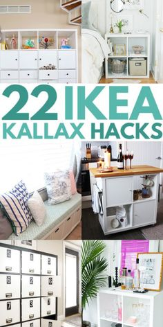 The Kallax is one of Ikea's most versatile pieces of furniture and perfect for hacking. There are so many great ideas for Ikea Kallax hacks here that you will certainly get inspiration. If you are looking for a good Ikea Kallax hack, you've come to the right place. Ikea Kallax Hack, Sweet Home, Hacks, Bedroom, Storage, Table, Diy, Inspiration, Furniture