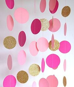 CUTADORNS 2 Sets of 6.5 Feet Long Circle Dots Paper Garland Hanging Décor Fuchsia Pink and Gold Baby Shower Birthday Party Decoration