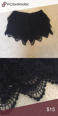 Black Crochet Shorts New black shorts with super cute crochet detailing!! Xhilaration Shorts