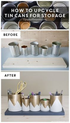 Need something cute to organize desk space, but don't have a huge budget? Check out this Upcycled Tin Can Organizer! http://UpcycledTreasures.com