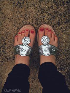 Sara Kopenec silver Jack Rogers Navajo sandals #lovemyjacks