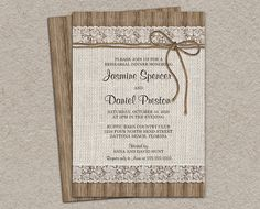 Rustic Burlap And Lace Rehearsal Dinner by iDesignStationery