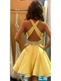 YELLOW CRISS CROSS BACK 2016 SHORT HOMECOMING DRESS WITH BEADED SASH