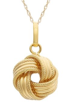14K Gold Textured Large Love Knot Necklace on @HauteLook