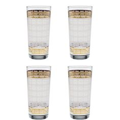 b00a4bc6e209 Culver Gold 22k and Satin Frost Print Expressive Pattern 15-Ounce Cooler  Glass (Set of 4)