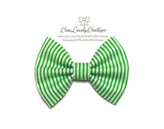 Baby/girl handmade green and white stripes_St by BowLovelyBoutique