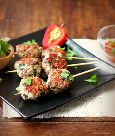 turkey meatballs with soy sauce, garlic, ginger, spices, cilantro