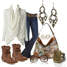 Drape wrap cream sweater, jeans, great Madden booties, AWESOME paisley bag for $47!!!  So cute!