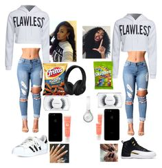 """Bored asf😂😂 somebody text me"" by yyyymylife ❤ liked on Polyvore featuring WithChic, adidas, MAC Cosmetics, Lancôme and Beats by Dr. Dre"